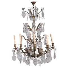 12-Light Spots Chandelier Bronze and Glass, Italy, 19th Century