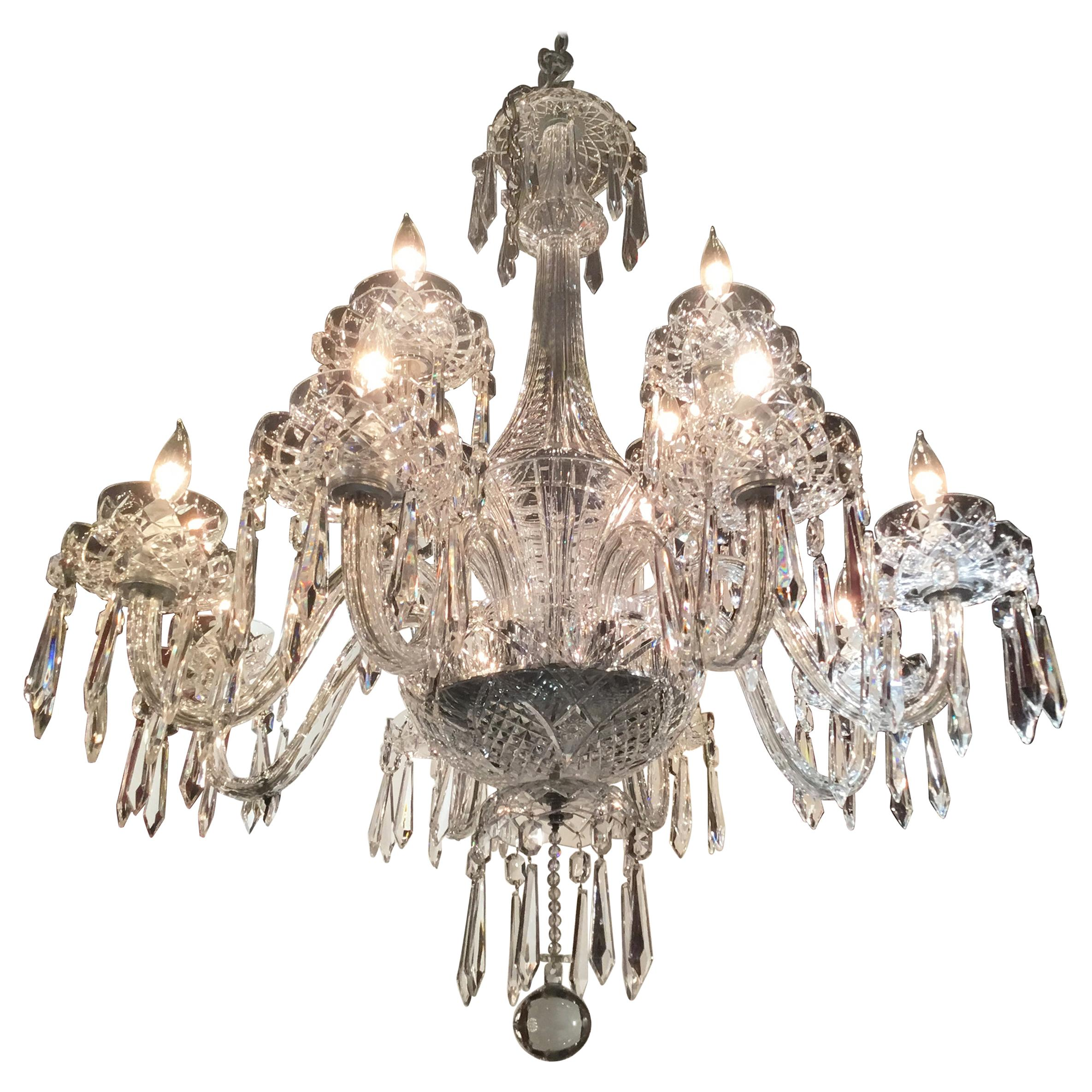 12 Light Waterford Crystal Chandelier At 1stdibs