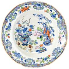 12 Mason's Patent Ironstone Japonesque Rimmed Soup Bowls w/ Gold Scalloped Rims
