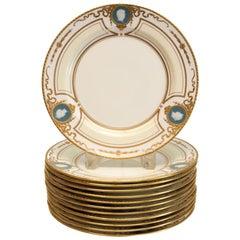 12 Minton for Tiffany & Co. Pate-sur-pate Cameo Portrait Dessert Plates, 1920