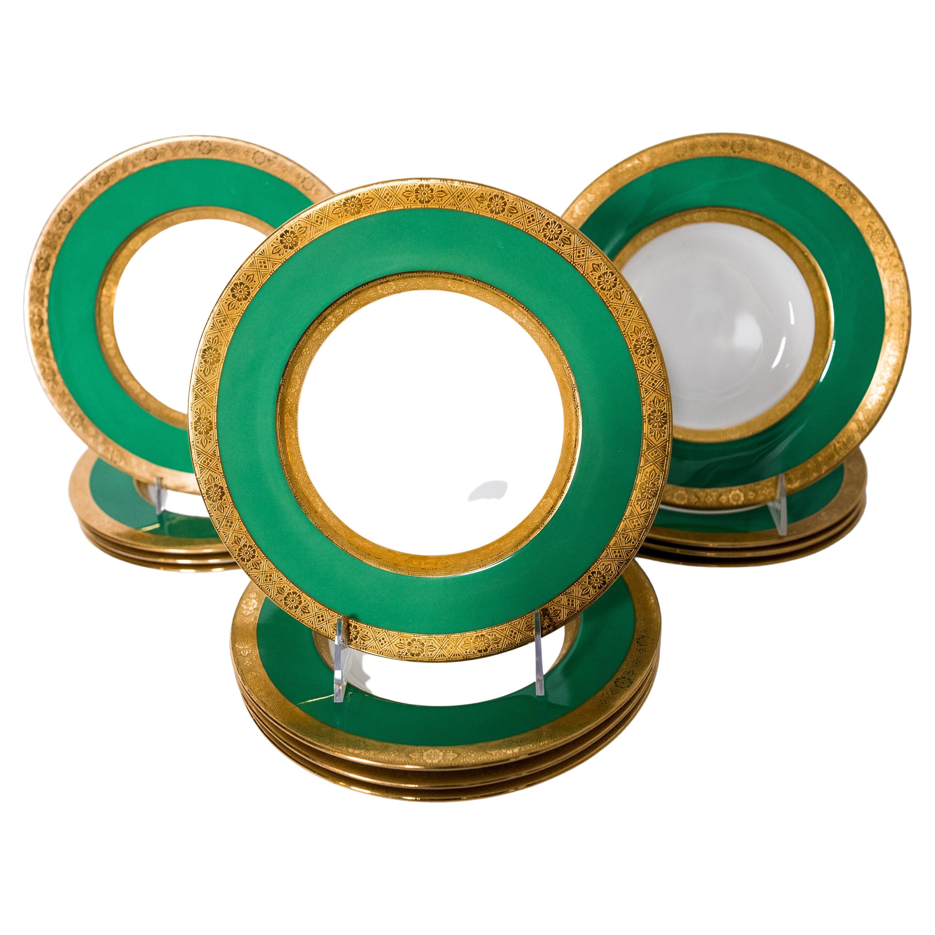 12 Minton for Tiffany Vibrant Green Rimmed Soup Bowls, Extra Wide Collar