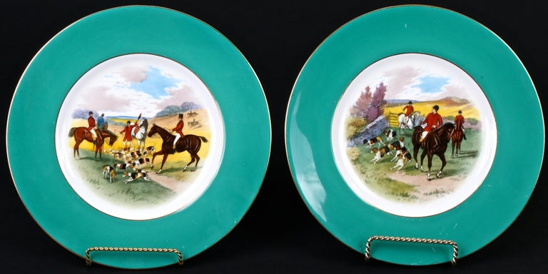 English 12 Minton Hand Painted Fox Hunt Plates, by Artist J.E. Dean For Sale