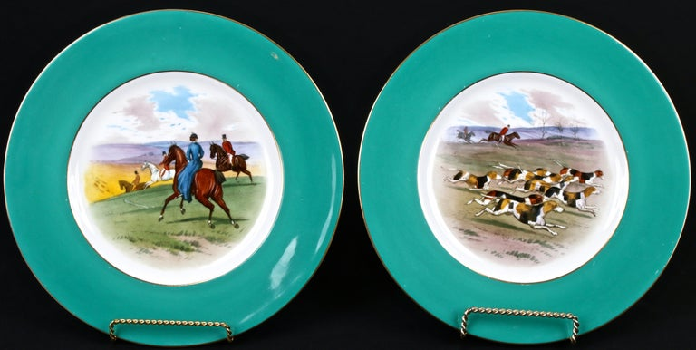 Hand-Painted 12 Minton Hand Painted Fox Hunt Plates, by Artist J.E. Dean For Sale