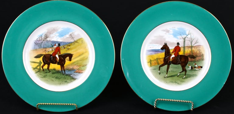 Early 20th Century 12 Minton Hand Painted Fox Hunt Plates, by Artist J.E. Dean For Sale