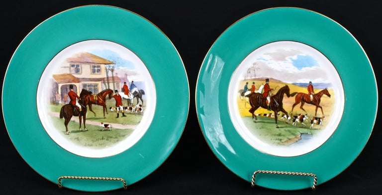 Porcelain 12 Minton Hand Painted Fox Hunt Plates, by Artist J.E. Dean For Sale
