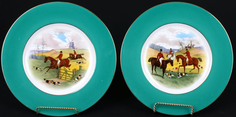 12 Minton Hand Painted Fox Hunt Plates, by Artist J.E. Dean For Sale 1
