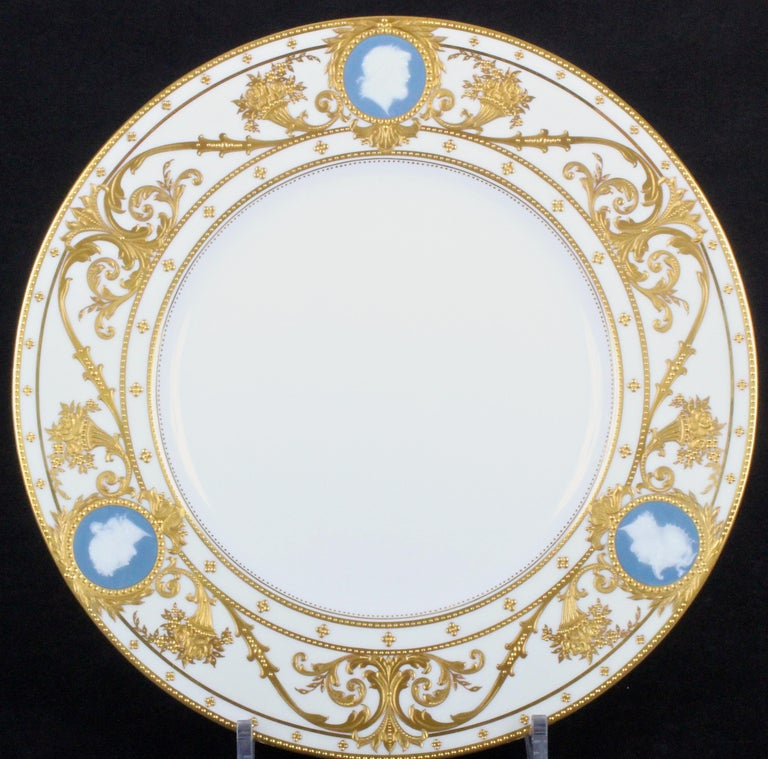 Neoclassical 12 Minton Pate-sur-Pate Cameo Plates for Tiffany, by Artist Albion Birks For Sale