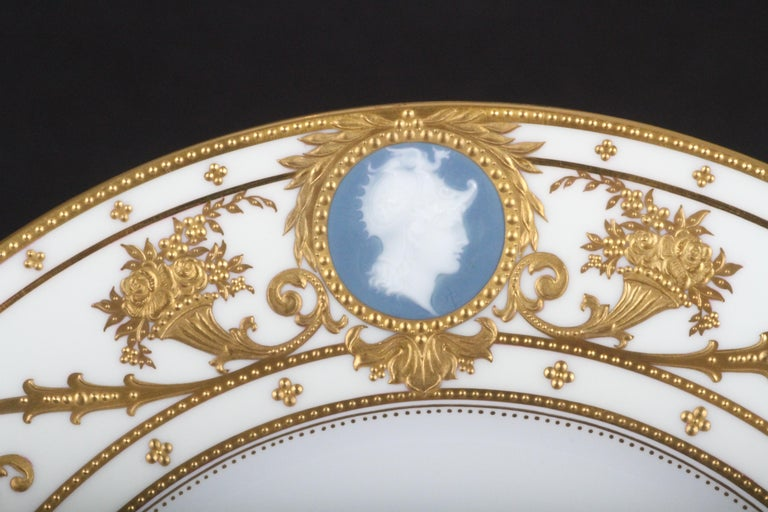 Burnished 12 Minton Pate-sur-Pate Cameo Plates for Tiffany, by Artist Albion Birks For Sale
