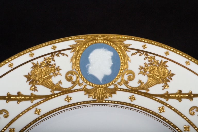 12 Minton Pate-sur-Pate Cameo Plates for Tiffany, by Artist Albion Birks In Excellent Condition For Sale In New York, NY