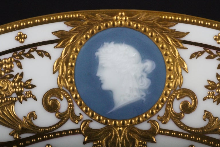 Gold Leaf 12 Minton Pate-sur-Pate Cameo Plates for Tiffany, by Artist Albion Birks For Sale