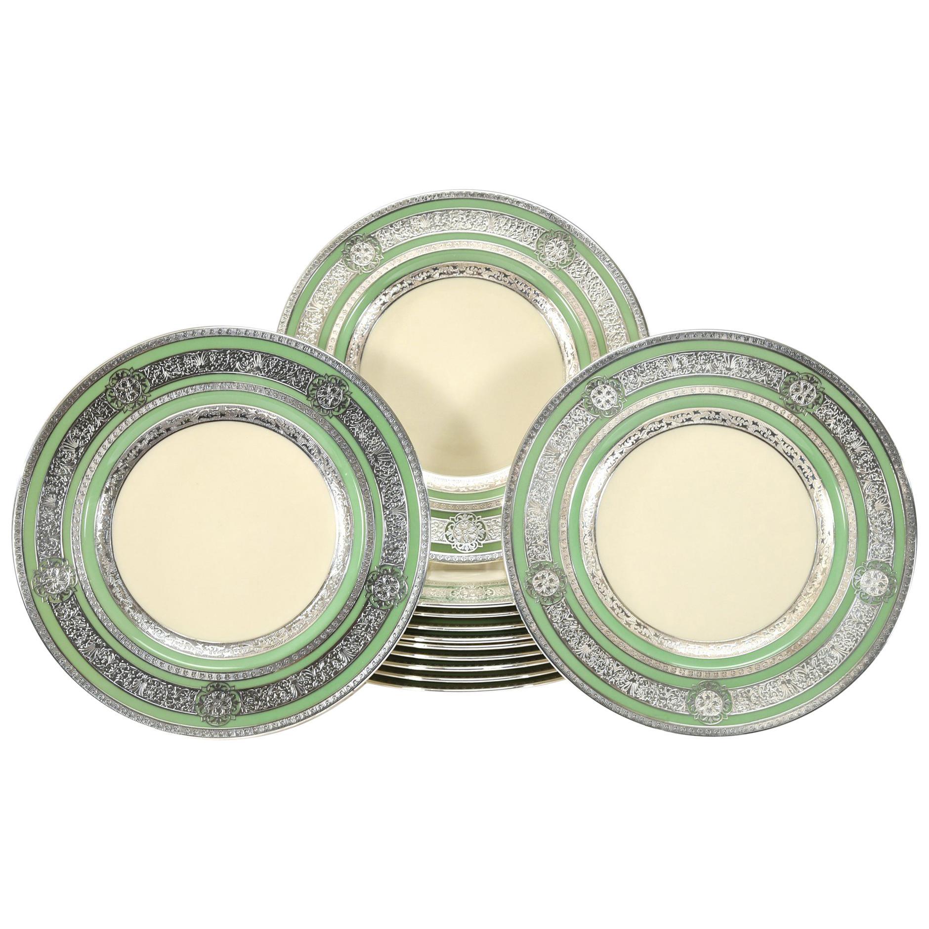 12 Morgan Belleek Sterling Silver Overlay Dinner or Service Plates