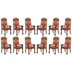12 Neil Busby Dragon Carver Dining Armchairs Leather 22-Carat Gold Tips
