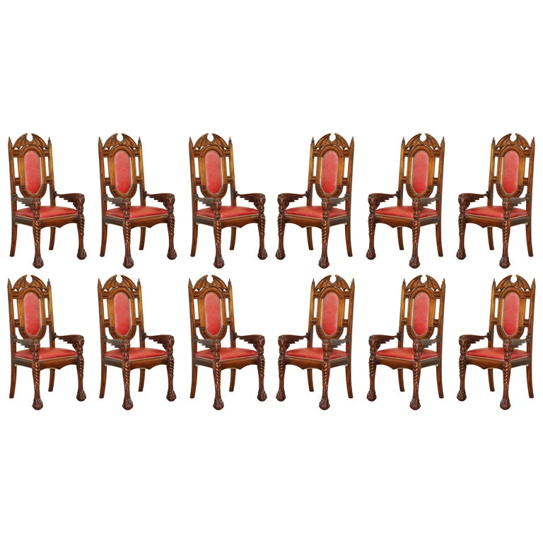 12 Neil Busby Dragon Carver Dining Armchairs Leather 22-Carat Gold Tips For Sale