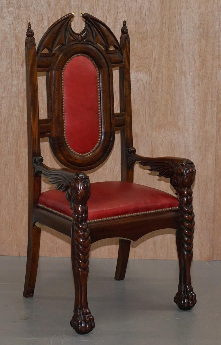 12 Neil Busby Dragon Carver Dining Armchairs Leather 22-Carat Gold Tips For Sale 11