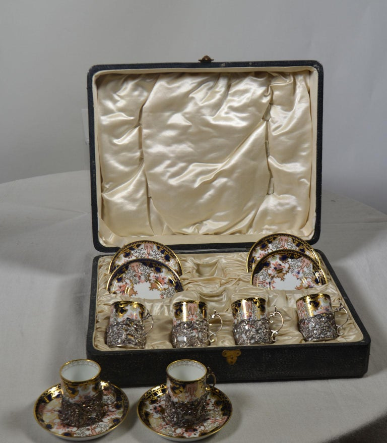 English 12-Piece Antique Sterling Coffee Service For Sale
