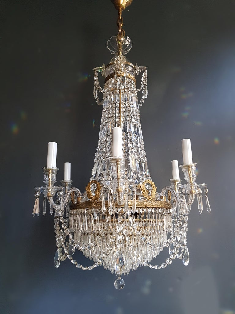 12 Piece Montgolfièr Empire Sac a Pearl Chandelier Crystal Lustre Ceiling Lamp For Sale 12