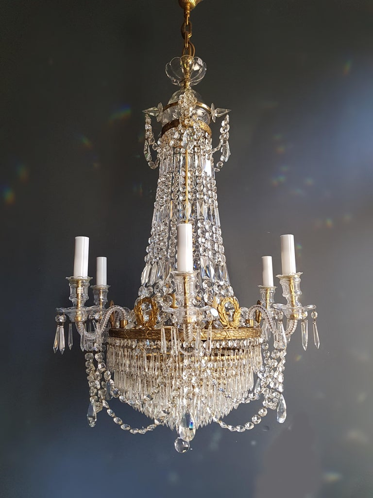 12 piece Montgolfièr Empire Sac a pearl chandelier crystal lustre ceiling lamp  12 pieces available. from a castle on the Baltic Sea. this price as a couple. 2 pieces!  Measures: Total height 140 cm, height without chain 110 cm, diameter 70 cm.