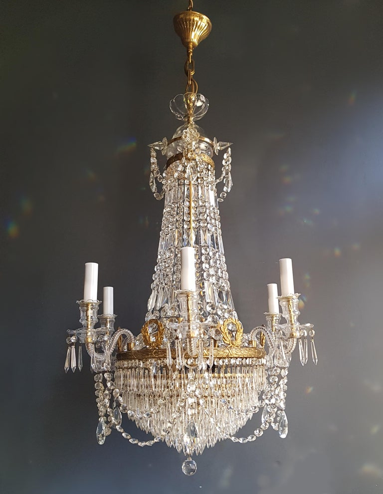 European 12 Piece Montgolfièr Empire Sac a Pearl Chandelier Crystal Lustre Ceiling Lamp For Sale