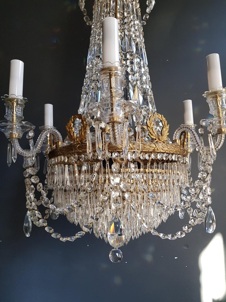 Mid-20th Century 12 Piece Montgolfièr Empire Sac a Pearl Chandelier Crystal Lustre Ceiling Lamp For Sale