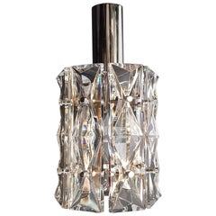 24 Pieces Chrome Crystal Glass Chandelier Lamp by Kinkeldey, Germany, 1970s