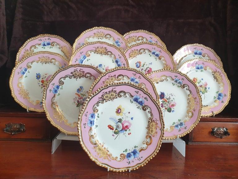 12 Pink Coalport Dessert Service For Sale 6