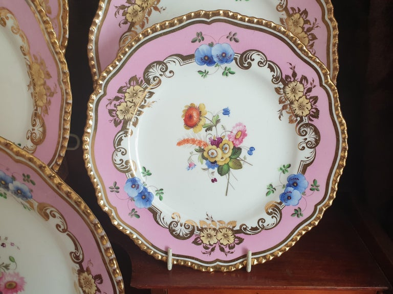 12 Pink Coalport Dessert Service In Excellent Condition For Sale In London, GB