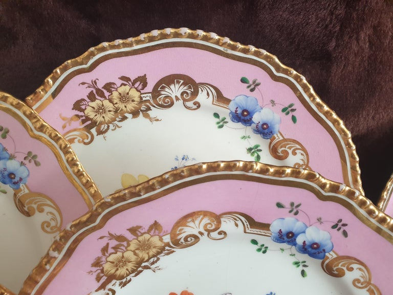 19th Century 12 Pink Coalport Dessert Service For Sale