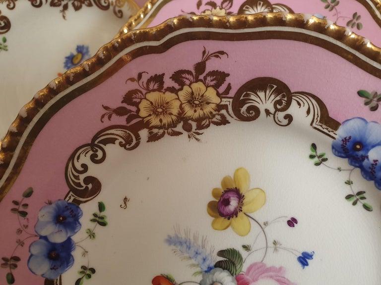 Porcelain 12 Pink Coalport Dessert Service For Sale