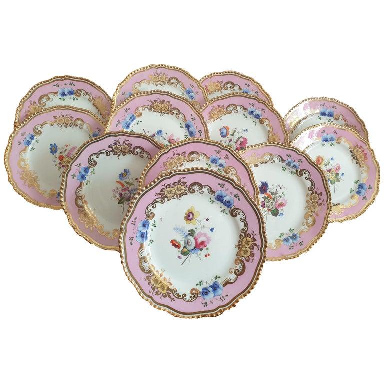 12 Pink Coalport Dessert Service For Sale