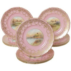 12 Pink Gilt Hand Painted Castle Cabinet Plates. Antique English Artist Signed