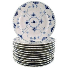 12 Plates Blue Fluted Full Lace Dinner Plates from Royal Copenhagen