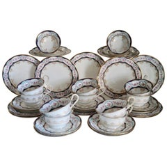 12 Rare Antique Wedgwood Bone China Porcelain Cup, Saucers and Cake Plates