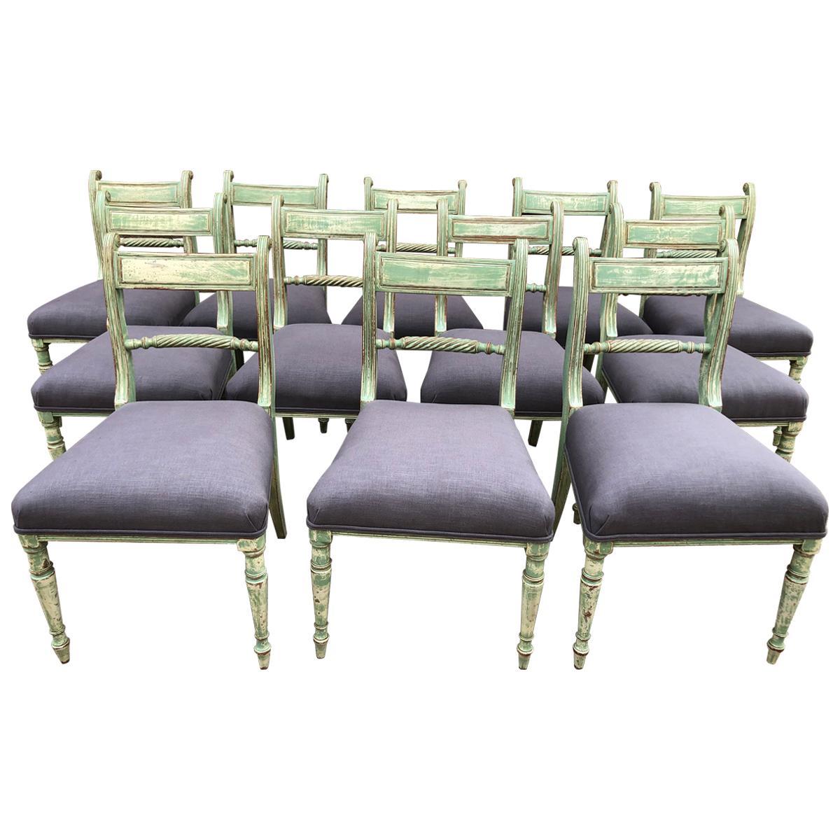 12 Regency Painted Mahogany Chairs