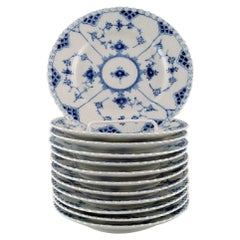 12 Royal Copenhagen Blue Fluted Full Lace Plates in Porcelain