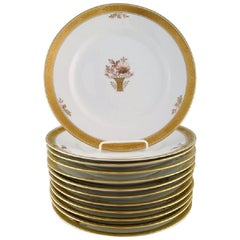 """12 Royal Copenhagen """"Golden Basket"""" Dinner Plates with Gold Edge"""
