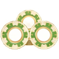 12 Royal Doulton Apple Green Dinner Plates with Raised Paste Gold & Shaped Rims