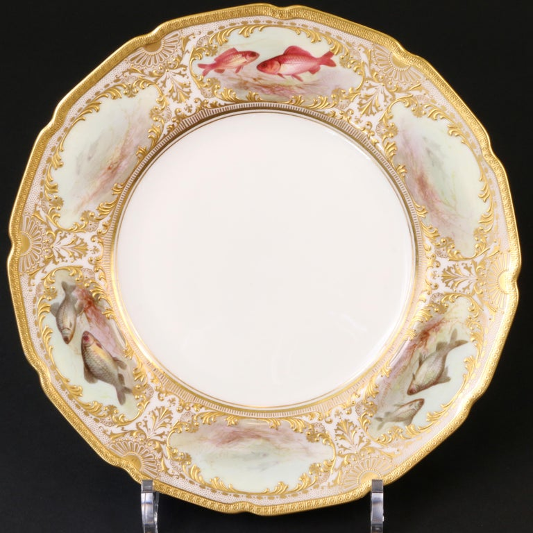 12 Royal Doulton Hand Painted and Heavily Gilded Fish Plates For Sale 3