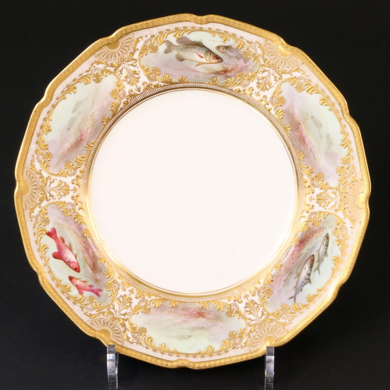 12 Royal Doulton Hand Painted and Heavily Gilded Fish Plates For Sale 5