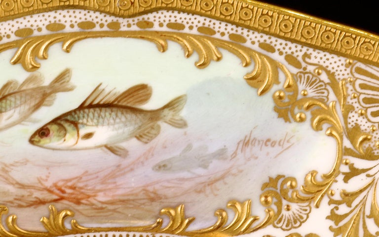 Aesthetic Movement 12 Royal Doulton Hand Painted and Heavily Gilded Fish Plates For Sale