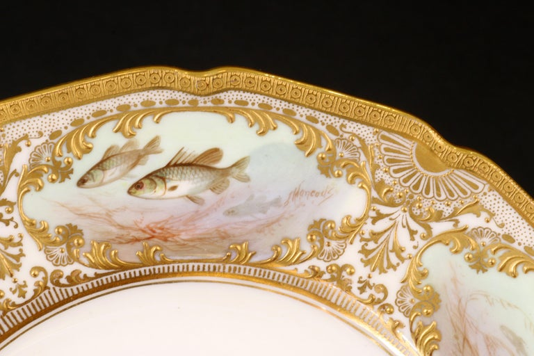 English 12 Royal Doulton Hand Painted and Heavily Gilded Fish Plates For Sale