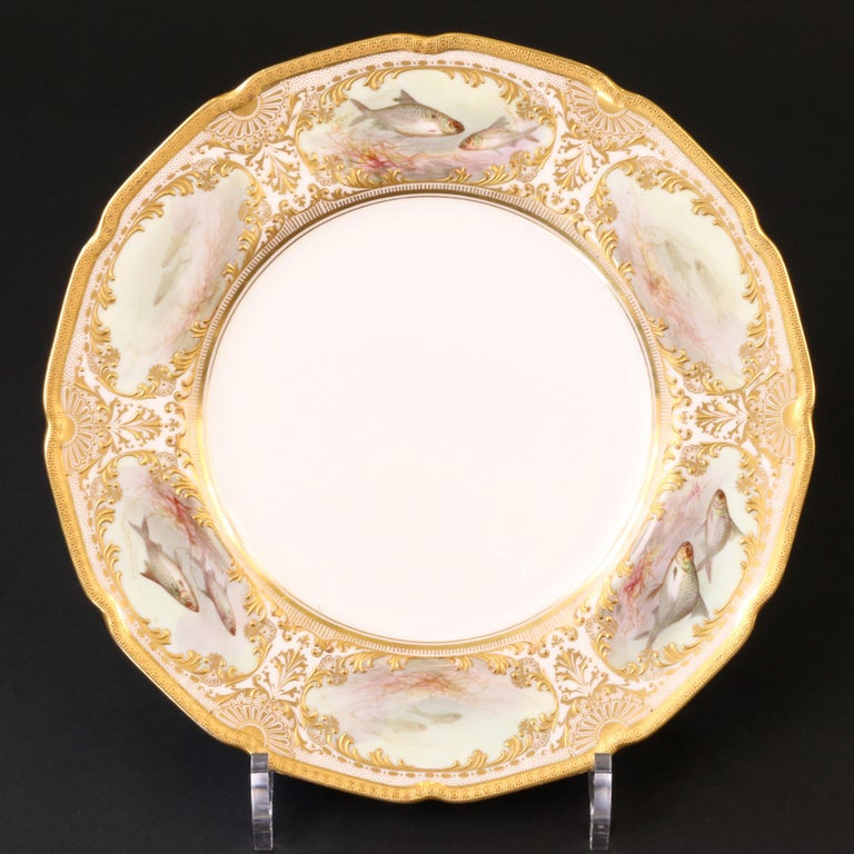 Early 20th Century 12 Royal Doulton Hand Painted and Heavily Gilded Fish Plates For Sale