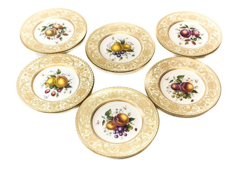 European 12 Royal Worcester Harry Aytron Porcelain Fruit Cabinet Plates, 1955, Signed For Sale