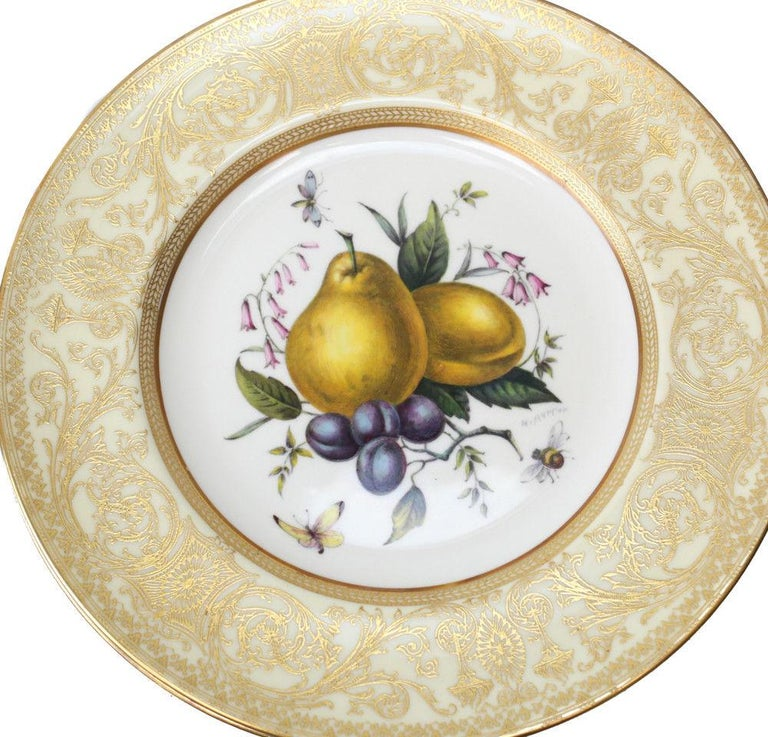 Mid-20th Century 12 Royal Worcester Harry Aytron Porcelain Fruit Cabinet Plates, 1955, Signed For Sale