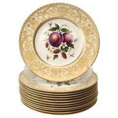 12 Royal Worcester Harry Aytron Porcelain Fruit Cabinet Plates, 1955, Signed