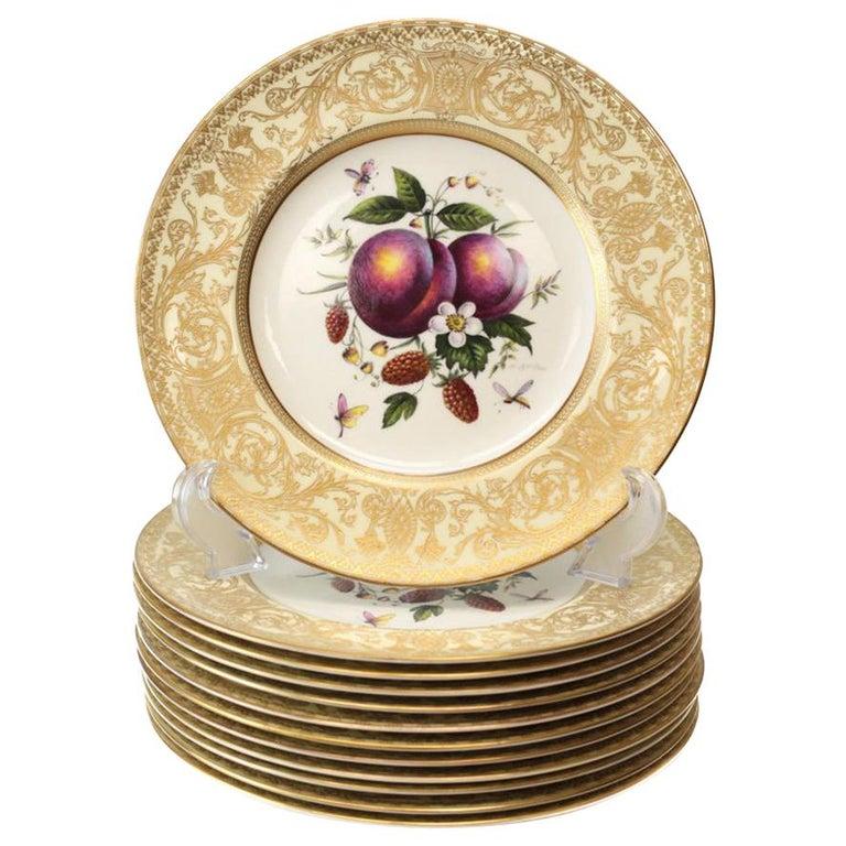 12 Royal Worcester Harry Aytron Porcelain Fruit Cabinet Plates, 1955, Signed For Sale