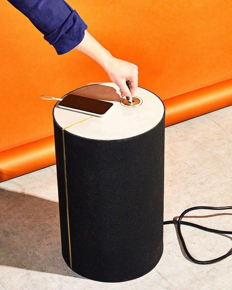 Cast Rubber and Concrete Power CYL Side Table with Integrated Power Outlet For Sale