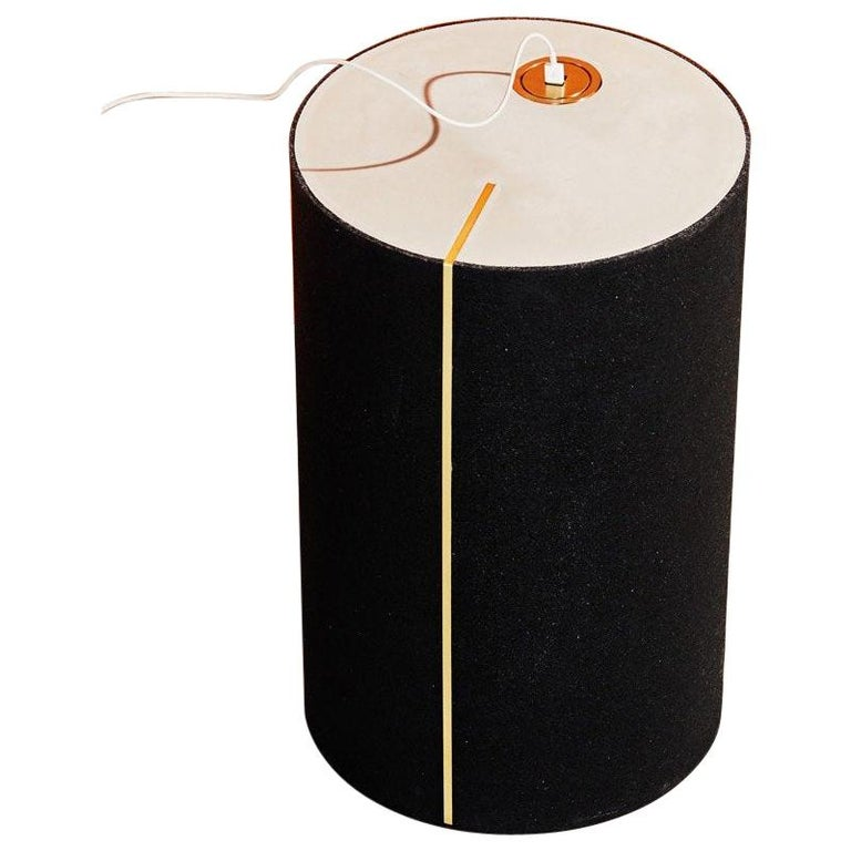 Rubber and Concrete Power CYL Side Table with Integrated Power Outlet For Sale
