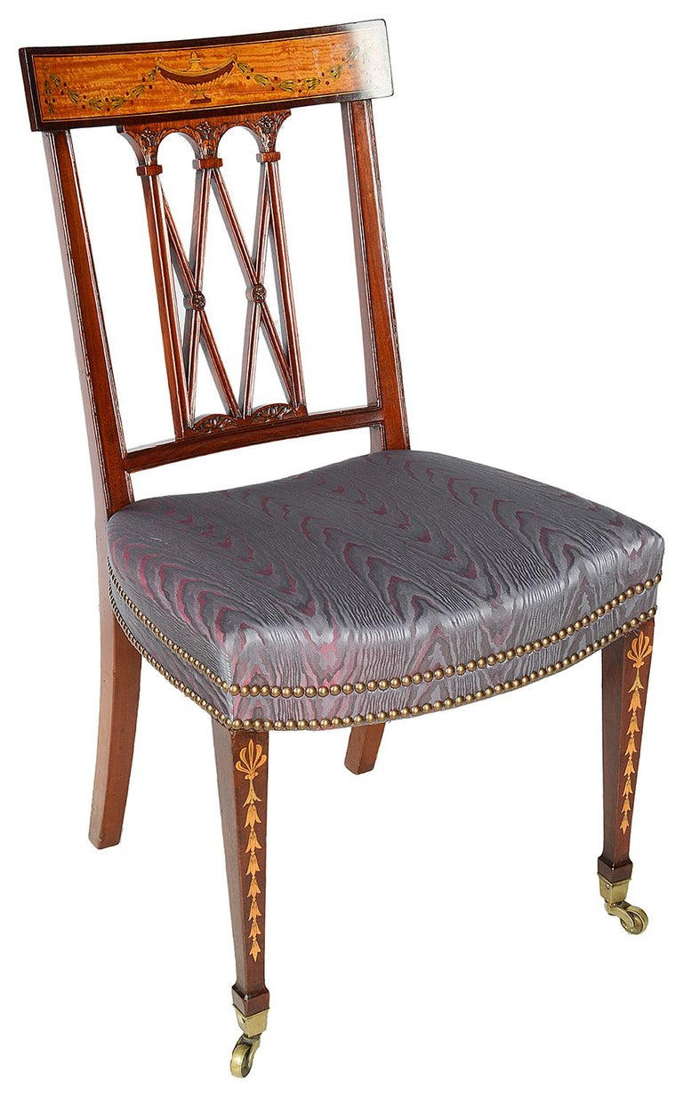 English 12 Sheraton Revival Dining Chairs, 19th Century For Sale