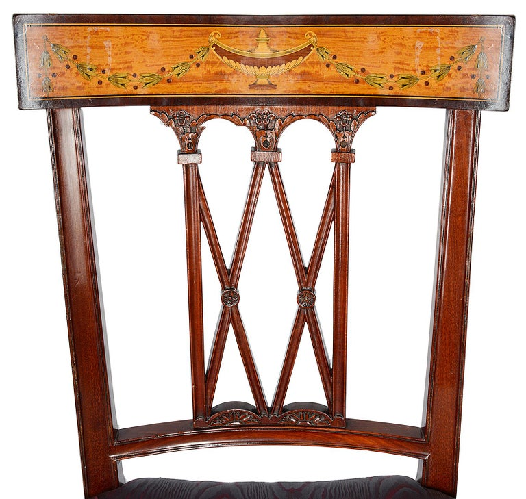 Inlay 12 Sheraton Revival Dining Chairs, 19th Century For Sale