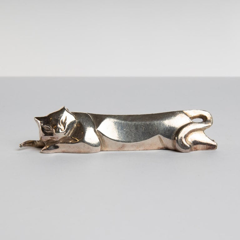 French 12 Silver-Plated Knife-Rests in the Shape of Animals, Edouard Marcel Sandoz For Sale